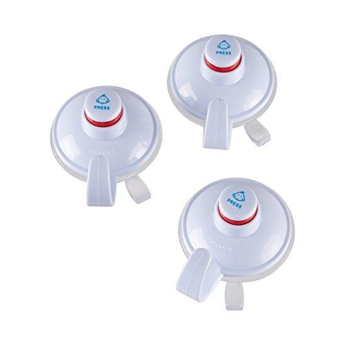 TRI Kontrollhaken-Set 3 Stück, Haken mit Saugnapf & Kontrollfunktion, Küchenhaken Kleiderhaken Handtuchhaken, Kunststoff, Ø 6 cm