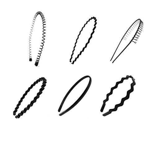 Lot de 6 serre-têtes noirs multi-style en métal et plastique pour homme et femme (style B).