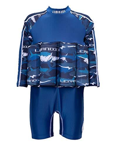 Lemandii Traje de banho com proteção solar FPS 50+ de manga comprida para meninos e crianças, uma peça com zíper ajustável nas costas para bebês de 1 a 10 anos (azul, altura: 80 a 89 cm/peso: 9 kg a 12 kg)