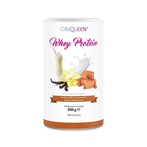 GymQueen Whey Protein 500g   Eiweißpulver, Protein-Shake   kann den Muskelaufbau unterstützen   Protein-Pulver mit 72% Eiweiß   Kalorienarm & Aspartamfrei   Vanille Toffee
