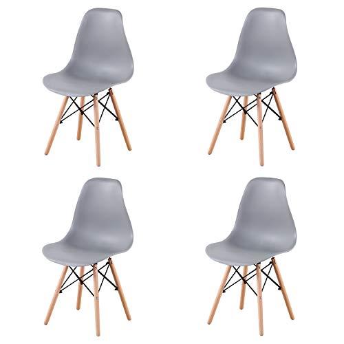 EGNM Set von 4/6 Kunststoff Wohnzimmer Stuhl Esszimmerstuhl Bürostuhl nordischen Stil (Grau-4)