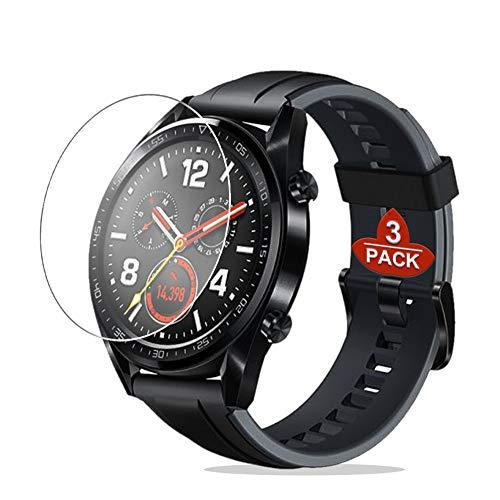 De.Zev Huawei Watch GT/GT Active Panzerglas Schutzfolie, [9H Festigkeit][Blasenfrei], (3 Stück) Huawei Watch GT Classic/Active Panzerglasfolie Bildschirmschutzfolie