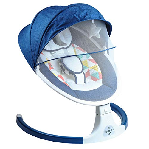 SHARESUN Electric Baby Rocker with 3 Swinging Amplitudes, Bluetooth USB Music Play, Mosquito Net, Timing Function, Baby Swing Rocker Chair,Max Bearing 20Kg,Blue