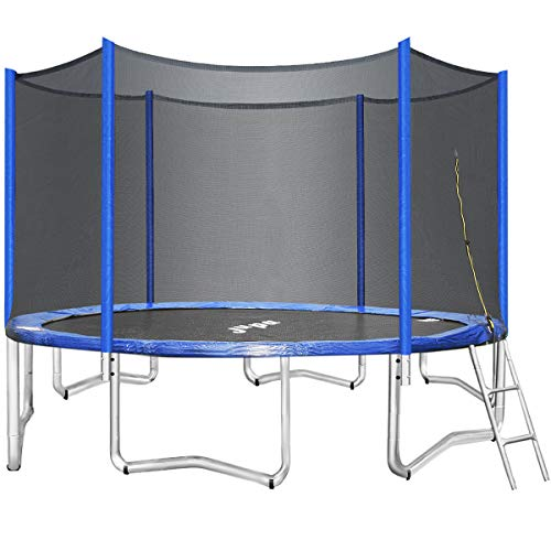 JUPA Kids Trampoline 14FT, Maximum Weight Capacity 375LBS Safe Outdoor Trampoline with Enclosure Net Jumping Mat Safety Pad, Heavy Duty Round Trampoline for Backyard