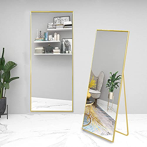 Beauty4U Full Length Mirror Floor Mirror Hanging Standing or Leaning, Bedroom Mirror Wall-Mounted Mirror with Gold Aluminum Alloy Frame, 59