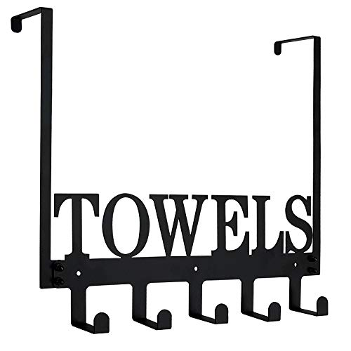 Over The Door Hook Hanger, Bathroom Towel Racks Wall Mount for Towels, Robes, Bag, Coats, Hats, Keys | Heavy-Duty Hanging Towel Rack Organizer | Outdoor Pool Towel Holder 5 Hooks Black
