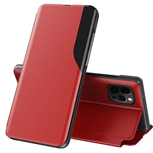 Funda de piel con tapa para iPhone 11 Pro Max Hangma (magnética, a prueba de golpes, horizontal, con soporte, color rojo)
