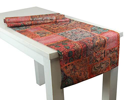 """beties """"PersischPatch"""" Tischläufer ca. 40x150 cm 100% Baumwolle marokkanischer Wohnstil in der Farbe abendrot"""