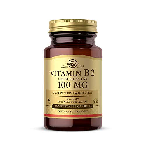 Solgar Vitamin B2 (Riboflavin) 100mg, 100 Vegetable Capsules - Energy Metabolism, Healthy Nervous System - Non-GMO, Vegan, Gluten Free, Dairy Free, Kosher, Halal - 100 Servings