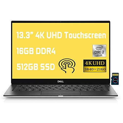 "Dell XPS 13 7390 2020 Premium Laptop I 13.3"" FHD Display I 10th Gen Intel Hexa-Core i7-10710U I 16GB RAM 512GB PCIe SSD I Backlit KB FP Thunderbolt MaxxAudio Win 10 Pro + Delca 16GB Micro SD Card"