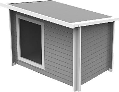 【ALLFORWAN'sLIFE】アメリカNew Age Pet ニューエイジペット ecoFLEXドッグハウス 犬小屋 屋外用 大型犬 ラスティックロッジドッグハウスジャンボ グレー