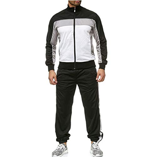 Sllowwa Herren Trainingsanzug Jogginganzug Cargo Stil Sportanzug Jogginganzug Trainingsanzug Sporthose+Hoodie(Weiß,L)