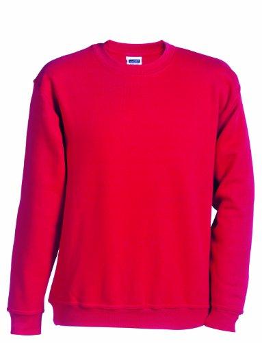 JAMES & NICHOLSON Sweatshirt Round Heavy Sweat-Shirt, Rouge (Red), (Taille Fabricant: L (134/140) Garçon