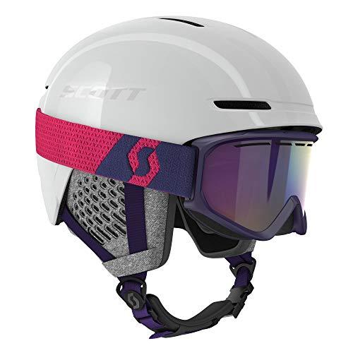 Scott Junior Track Helmet + Fact Goggle Combo Lila-Weiß, Kinder Skibrille, Größe M - Farbe White Pearl - Deep Violet