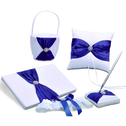 Royal Blue Satin Bow Wedding Ceremony Collection Guest Book Ring Pillow Flower Basket