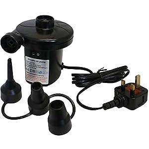 Bomba de aire eléctrica Unibos para hinchar colchones o piscinas con una corriente de 240V, un enchufe de tres clavijas y tres boquillas 3