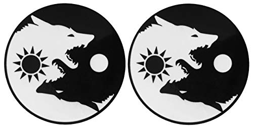 Papapatch Set 2 Wolf Yin Yang Sun Moon Day and Night Kung Fu Chinese Tao Balance Sign Fox Vinyl Window Laptop Wall Decor Decal Sticker (STK-Wolf-YIN-YANG-S2)