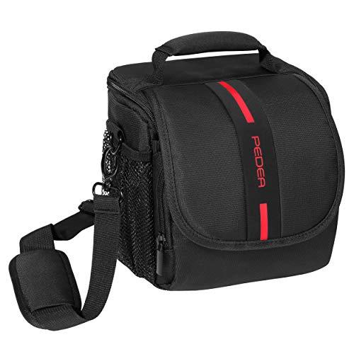 PEDEA DSLR-Kameratasche Essex Fototasche für Spiegelreflexkameras mit wasserdichtem Regenschutz, Tragegurt und Zubehörfächern, Gr. M schwarz/rot