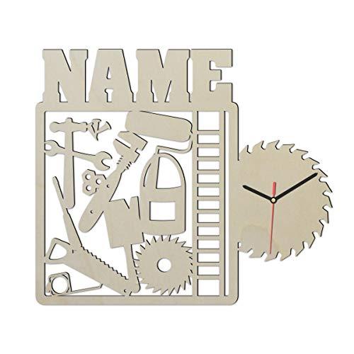 Heimwerker Handwerker Wand Uhr mit Namen lustige witzige Zubehör Männer Geschenke für Werkzeug Arbeiter Büro Werkstatt Deko