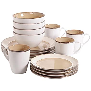 Gibson Studio 97948.16r Amberwood 16-Piece Dinnerware Set, Taupe