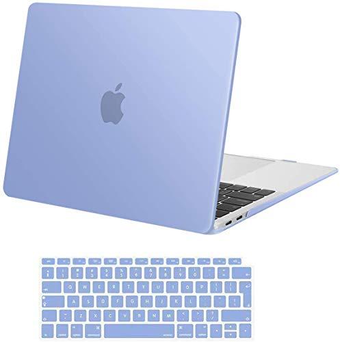 MOSISO Funda Dura Compatible con MacBook Air 13 Pulgadas 2020 2019 2018(A2337 M1 A2179 A1932) con Touch ID,Ultra Delgado Carcasa Rígida Protector de Plástico Cubierta&Piel de Teclado,Azul Serenidad