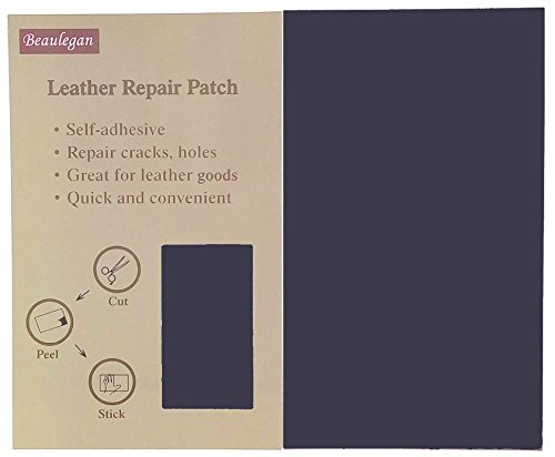 Beaulegan Leather Patch - Adhesive Backing - Repair Sofa, Car Seat, Jackets, Shoes and Handbag, 10 Inch by 6 Inch, Navy