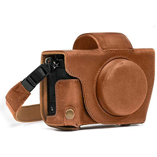 MegaGear Canon PowerShot G5 X Ever Ready Funda de Piel sintética para cámara con Correa - Marrón Claro - MG689