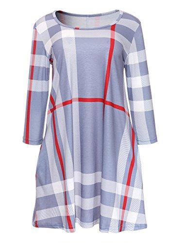Amzbeauty mujer Varios vestidos manga 3/4 cuadros sueltos vestido corto con bolsillos Pequeño Gris