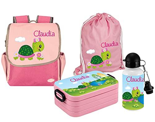 Mein Zwergenland Set 5 Kindergartenrucksack mit Brotdose, Turnbeutel und Trinkflasche Happy Knirps Next mit Name Schildkröte, 4-teilig, Pink