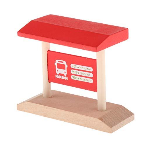 lahomia Simulación niños Tren de Madera luz de tráfico estación de policía Accesorios construcción Tren de ferrocarril Niño para Tren Thomas - Parada de autobús