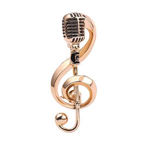 WLGQ Couleur Or Microphone Musique Noteoches Broche pour Femmes Hommes Chanteur fête Concert Accessoires Cadeau Bijoux