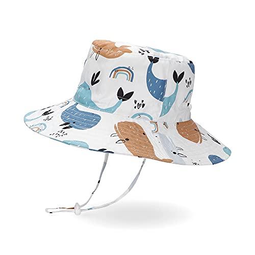 LACOFIA Sombrero de Sol bebé Gorro Verano para niños Sombrero Playa de ala Ancha Proteccion Solar para niños con Correa Ajustable para la Barbilla Ballena Blanca 4-6 años