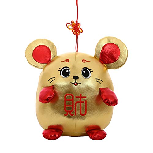 Creacom 2020 Neujahr Plüsch Ratte Jahr Maskottchen Spielzeug Anhänger Plüsch Rote Maus in Tang Anzug Stofftiere Chinese New Year Party Dekoration Geschenk
