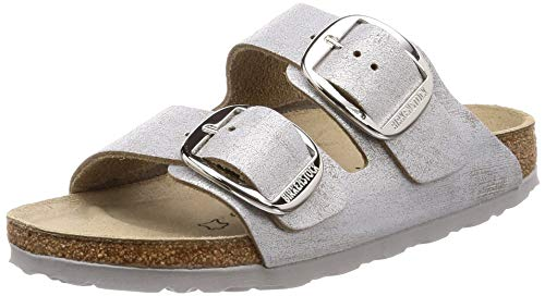 BIRKENSTOCK Damen Arizona Big Buckle Sandalen braun, Washed Metallic Blue Silver, 41 EU