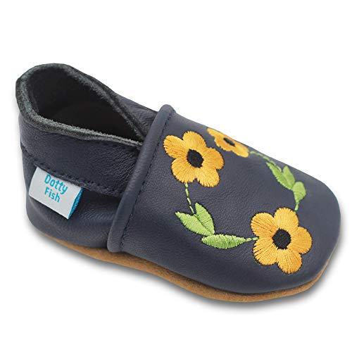 Dotty Fish Weiche Baby und Kleinkind Lederschuhe. 0-6 Monate bis 3-4 Jahre. Blumenmotive für Mädchen. (19 EU, Marineblau Honigblüte)