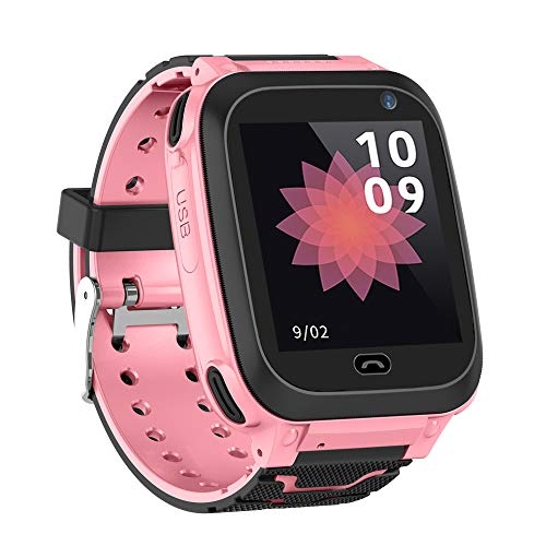 "Festnight Kinder Intelligente Uhr mit SIM Kartensteckplatz 1.44"" IPX7 Wasserdichter Touchscreen Kinder Smartwatch mit GPS Tracking Funktion SOS Anruf Sprachchat Wecker Kompatibel für Android iOS"