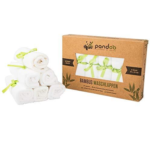 pandoo 100{9601640e44bcf4773df9dcc7b5dcfde6c2aa8ff3e0ec8c20a1a99cbbfa6ec9be} Bambus Baby Waschlappen - kuschelweich, farbstofffrei, hypoallergen, anti-mikrobiell & antibakteriell für empfindliche Baby Haut - 25x25cm weiß - 6 Stück