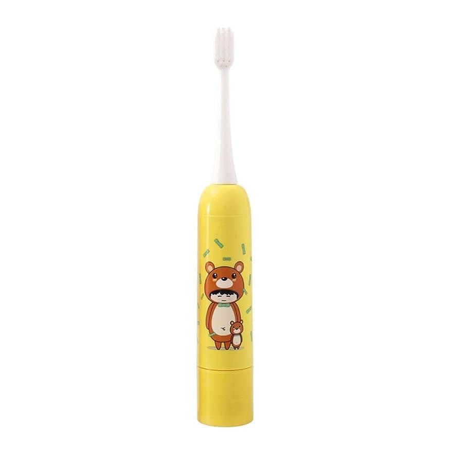 シングル所有権フライト電動歯ブラシ ベアパターン黄色の子供たちの防水保護柔らかい歯の歯ブラシ 子供と大人に適して (色 : 黄, サイズ : Free size)
