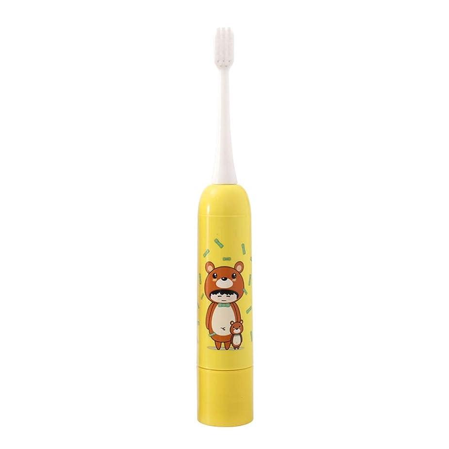 電動歯ブラシ 子供用電動歯ブラシ防水保護ソフトヘア歯ブラシ単三電池1本(電池なし) 大人と子供向け (色 : 黄, サイズ : Free size)