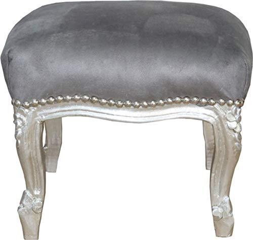 Casa Padrino Barock Fußhocker Grau/Silber - Antik Stil Möbel - Hocker