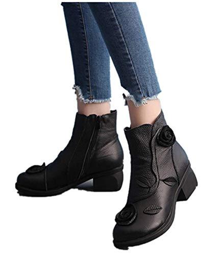 MYMYG Frauen ethnischen Stil Stiefel handgenäht Blumen Schuhe Leder Retro Stiefel Klassische Freizeitschuhe Kurzschaft Wildleder Stiefel Casual Ankle Boot Winterschuhe