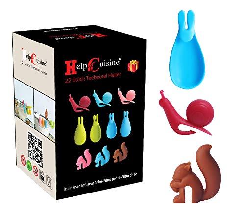 HelpCuisine® Infusor de te/infusionador/colador te/filtro te/infusores de te, hecho de silicona 100% alimentaria libre de BPA (Soporte para bolsitas de te (22 piezas))