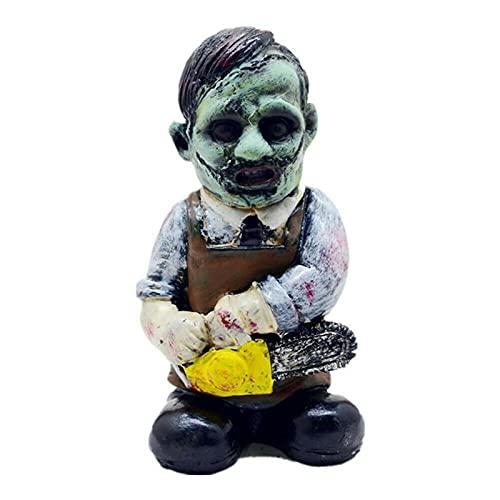 Bingdong Estatua de la película de terror para jardín, pesadilla, gnomo, decoración decorativa de Halloween asesino enano para el hogar, patio o mesa