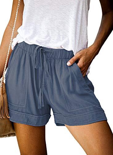 OURS Womens Summer Shorts Elastic Waist Drawstring Lightweight Pocketed Short Lounge Pants (Blue, XL)