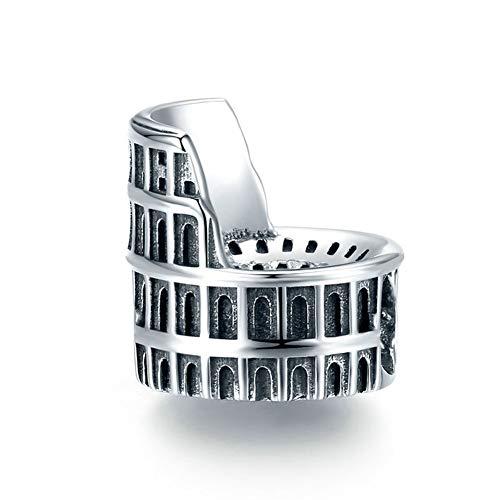 HMMJ Encantos de la Vendimia de Las Mujeres S925 Plata Coliseo de Bolas de Bricolaje Colgante Hecho a Mano Compatible con Pandora y Pulseras de los Collares Europeos