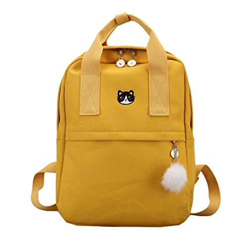 Anxinke Girls Students Schoolbag Daypack Canvas Backpack Bag with Hairball Pendant (Yellow)