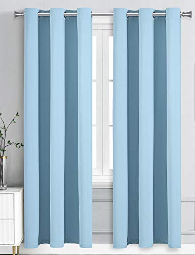 """WPM Triple Weave Blackout Curtain Room Darkening 2 Panels/Drapes for Living Room, Sky Baby Blue Thermal Insulated Grommet Bedroom Window Draperies (Lite Blue, 42"""" W X 84"""" L)"""