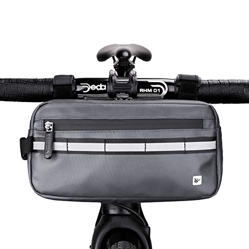 Rhinowalk Borsa Manubrio Bici Multifunzionale Borse Bicicletta da Manubrio, Sacchetto Anteriore del Manubrio, Borse Bici MTB con Strisce Riflettenti con Tracolla Removibile per Ciclismo Sport (Grigio)