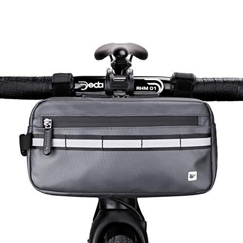 Rhinowalk Fahrrad Lenkertasche Wasserabweisend Fahrradtasche für Lenker Rahmentasche mit Schultergurt (Grau)