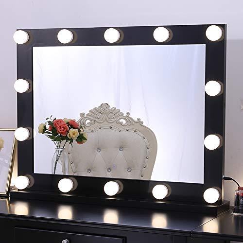Chende Professionelle Schminkspiegel mit Licht, Hollywood Spiegel mit Beleuchtung Wandmontage, Groß Beleuchteter LED Kosmetikspiegel mit 3 Farbumbauten für Schminktisch(Schwarz)